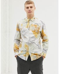 SELECTED Slim Fit Shirt With All Over Floral Print - White