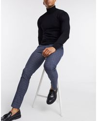 New Look Check Skinny Suit Trouser - Blue