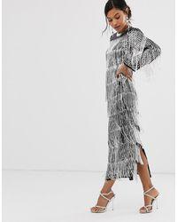 ASOS Sequin & Fringe Midi Tunic Dress - Metallic