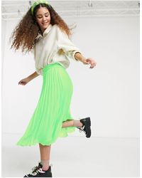 Monki High Waist Pleat Midi Skirt - Green