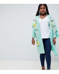 ASOS ASOS DESIGN Curve - Kimono floreale decorato - Blu