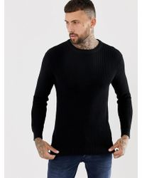 Bershka - Knitted Jumper In Black - Lyst