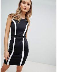 Zibi London Monochrome Bodycon Dress - Black