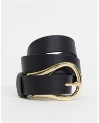 Pieces Slim Belt With Abstract Gold Buckle - Black