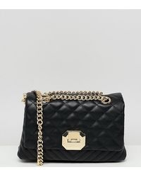 ALDO Menifee Black Quilted Cross Body Bag With Double Gold Chunky Chain Strap