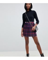 ASOS - Asos Design Tall Pleated Mini Skirt In Check With Gold Buttons - Lyst