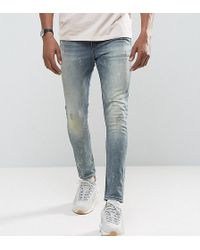 ASOS - Tall Super Skinny Jeans In Vintage Dark Wash Blue With Abrasions - Lyst