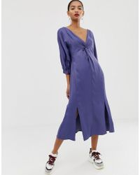 ASOS - Twist Front Plain Midi Dress - Lyst