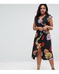 River Island Платье С Запахом И Принтом - Многоцветный