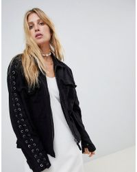 Free People - Fave Military Denim Jacket With Lace Up Sleeves - Lyst