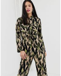 Monki Utility Boilersuit With Oversized Pockets And Camo Print - Green
