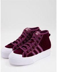 adidas Originals Nizza - Fluwelen Sneakers Met Mediumhoge Plateauzool - Rood