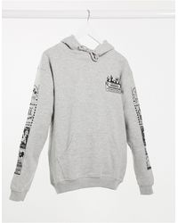 New Girl Order Oversized Hoodie With Friendly Conversation Print Co-ord - Grey