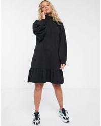 Monki - Черное Свободное Трикотажное Платье Из Органического Хлопка -бежевый - Lyst