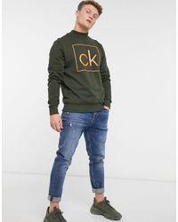 Calvin Klein Sweatshirt Met Omkaderd Logo En Strakke Hals - Groen
