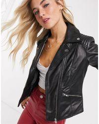 Barneys Originals Barney's Originals Belina Real Leather Jacket - Black