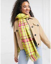 Oasis Check Scarf With Tassels - Yellow