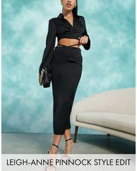 ASOS Satin Bias Midi Slip Skirt With Cut Out Waist Detail - Black