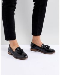 H by Hudson Leather Tassle Flat Shoes - Black