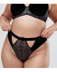 ASOS - Asos Design Curve Emma Velvet & Lace Thong - Lyst