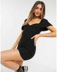 Miss Selfridge Черное Платье Мини Из Бенгалина С Пышными Рукавами -черный Цвет