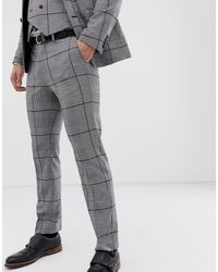 Burton Pantaloni da abito da matrimonio slim neri a quadri - Nero