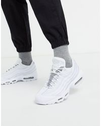 Nike Белые Кожаные Кроссовки Air Max 95-белый