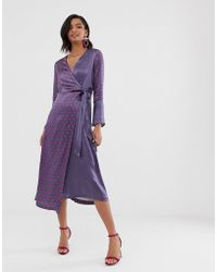 Closet Wardrobe Bell Sleeved Wrap Dress - Gray