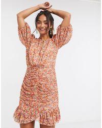 Forever New Оранжевое Платье Мини С Цветочным Принтом -мульти - Многоцветный