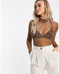 Naanaa Mesh Long Sleeve Bodysuit - Brown