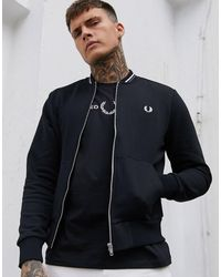 Fred Perry Zip Through Bomber Sweat - Black