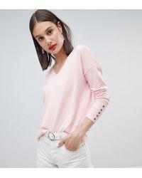 Esprit Lightweight Knitted Oversized V Neck Sweater - Pink