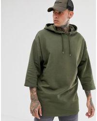 ASOS - Oversized Longline Hoodie With 3/4 Sleeves In Khaki - Lyst