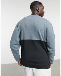 adidas Originals Черный Свитшот В Стиле Колор Блок С Круглым Вырезом И Логотипом-трилистником -черный Цвет