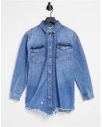 River Island Chemise en jean effet usé - clair authentique - Bleu
