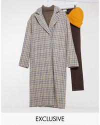Reclaimed (vintage) Inspired Unisex Heritage Check Maxi Coat - Multicolour