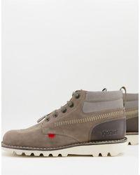 Kickers Высокие Кожаные Ботинки Серого Цвета На Шнуровке С Комбинированными Вставками Kick-серый
