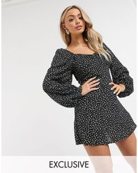 Missguided Exclusive Shirred Skater Dress With Open Back - Black