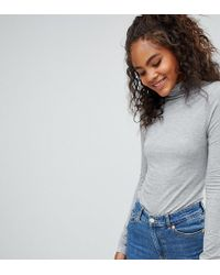 ASOS - Asos Design Tall Turtle Neck Long Sleeve Top In Grey - Lyst