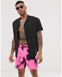 ASOS Swim Shorts In Neon Pink Tie Dye Mid Length