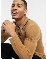 TOPMAN Long Sleeve Polo With Tipping - Brown