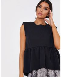 In The Style X Lorna Luxe Shoulder Detail Smock Top - Black