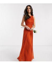 ASOS - Bridesmaid Maxi Dress With Soft Pleated Bodice-orange - Lyst