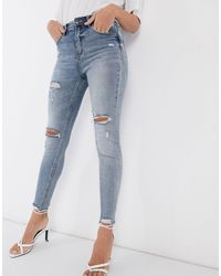 Stradivarius High Waist Skinny Jeans With Rips - Blue