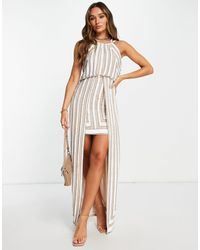ASOS Linear Embellished Mini Dress With Maxi Overlay And Ball Bearing Embellishment - Multicolour