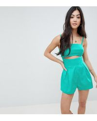 9730dae5f7 ASOS - Asos Design Petite Cami Playsuit With Cut Out Detail In Linen - Lyst