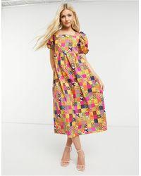 Never Fully Dressed Vestido midi amplio con estampado patchwork y mangas abullonadas - Multicolor