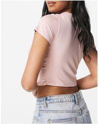 ASOS - Top rosa corto cruzado con mangas - Lyst