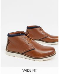 Original Penguin Wide Fit Chukka Boots With Contrast Collar - Brown