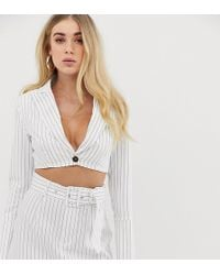 UNIQUE21 Cropped Blazer In Pinstripe Co-ord - Pink